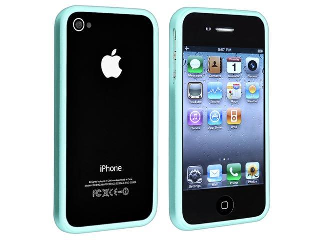 TPU Rubber Bumper Case + Car Charger + Travel Home Charger compatible with Apple® iPhone® 4 4S, Blue Shiny