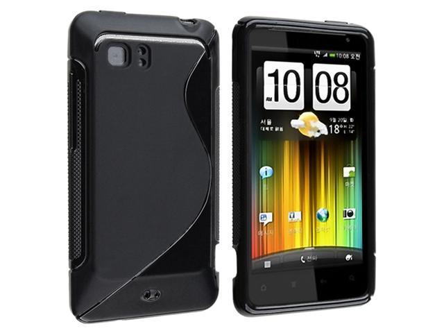 Black S Shape TPU Rubber Skin Case + Frost Hot Pink TPU Rubber Skin Case compatible with HTC Holiday / Vivid