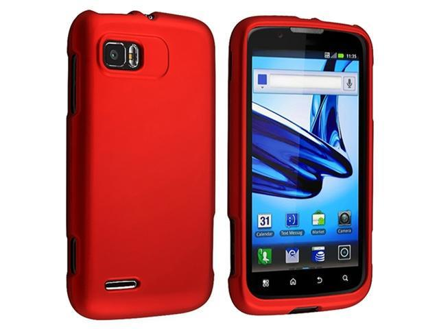 2 packs of Snap on Hard Rubber Cases : Red , Blue compatible with Motorola Atrix 2 MB865