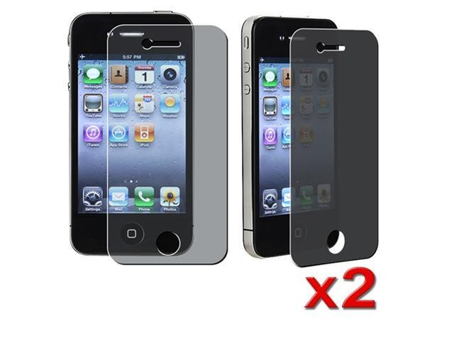 Insten 2 PRIVACY SCREEN PROTECTOR FLIM for Apple iPhone 4 / 4S 4G