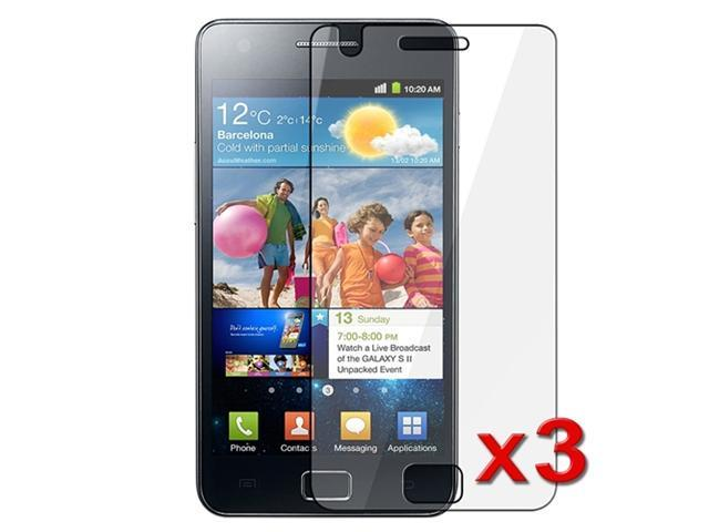 Three Anti-Glare Screen Protectors with Lint-free Cleaning Cloth compatible with Samsung© Galaxy S II i9100