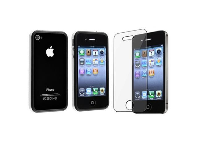 White / Black Bumper TPU Case with Aluminum Button compatible with Apple® iPhone® 4 / 4S, Bonus Clear LCD Screen Protector Included