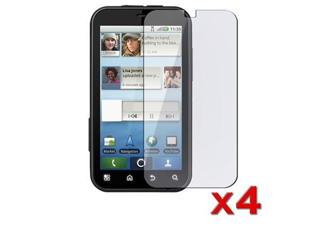 4 Pack Clear LCD Screen Protector Guard compatible with Motorola Defy MB525