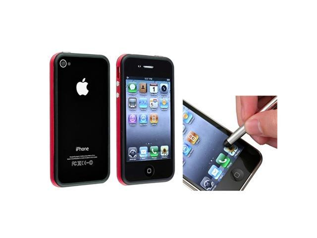 Red/Black Bumper Soft Gel Hard TPU Case Cover+S Stylus Pen compatible with iPhone® 4 4S 4G