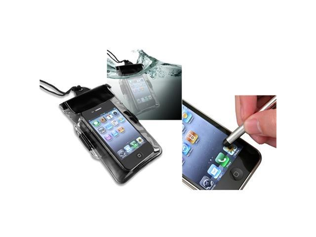 Black Waterproof Bag w/Armband Skin Case+S Stylus Pen compatible with iPhone® 4 4S 4GS