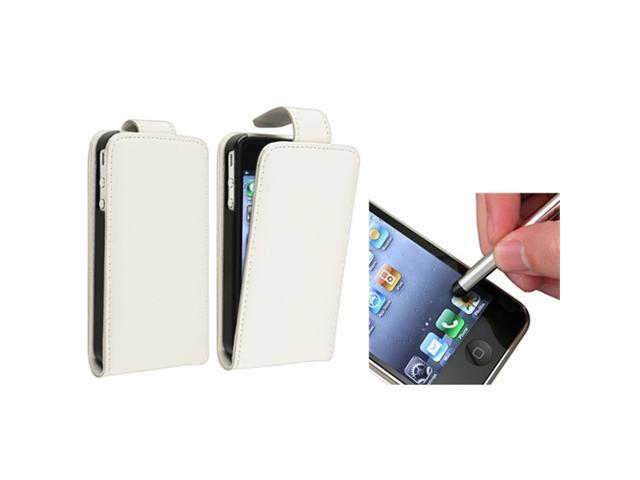 White Flip Pouch Leather Case Skin Cover+S Stylus Pen compatible with iPhone® 4 4th 4G 4S