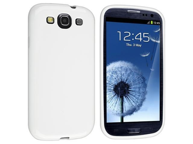 White TPU Rubber Case + Colorful Diamond Sparkling Screen Protector compatible with Galaxy S III i9300