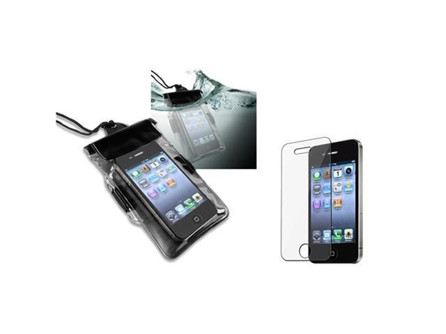 Black Waterproof Bag w/Armband Case Cover+LCD Protector compatible with iPhone® 4 4S 4GS