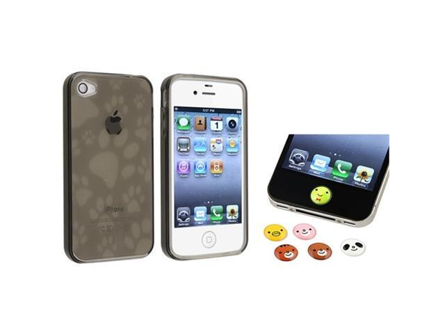 Black Dog Paw TPU Case+Cute Animal Home Button Sticker compatible with iPhone® 4 4S