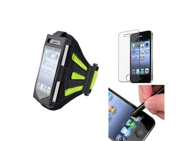 Armband Sportband Black/Green Cover Skin Case+Pen+Screen Pro compatible with iPhone® 4 4th 4S