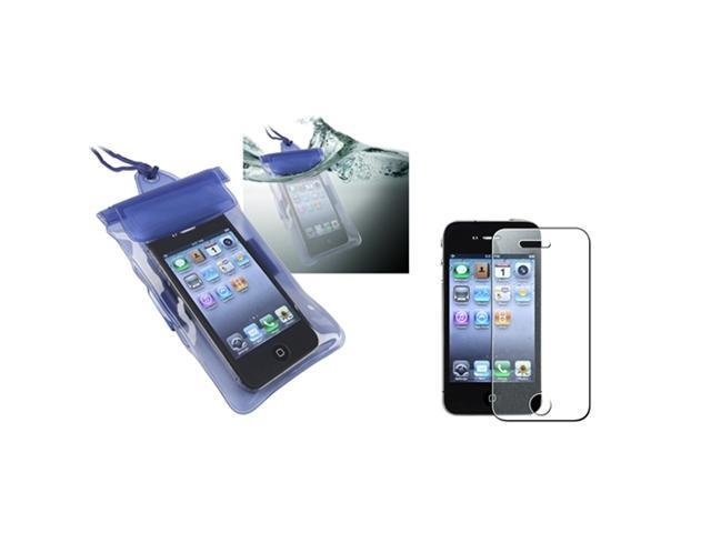 Blue Waterproof Bag Skin Case Cover+Diamond Screen Film compatible with iPhone® 4 4S