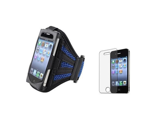 Black/Dark Blue Armband Sportband Case Cover+MATTE LCD Protector compatible with iPhone® 4 4S