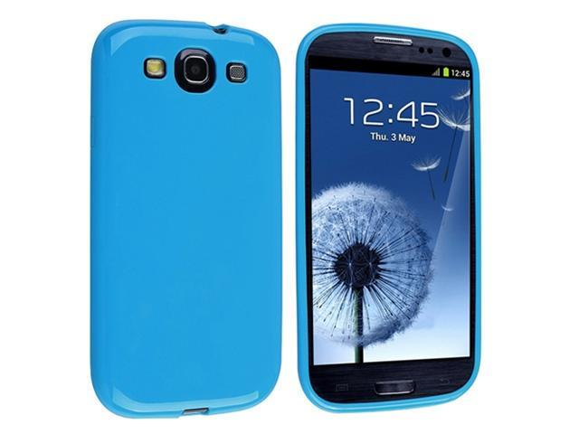Blue Jelly TPU Rubber Case with Reusable Screen Protector compatible with Galaxy S III i9300