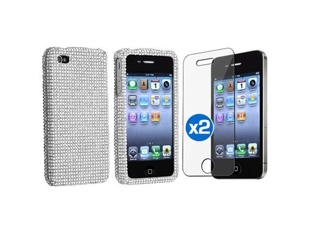 Bling Diamond Hard Cover Silver Case+Screen Film Protector compatible with iPhone® 4 G 4GS 4S