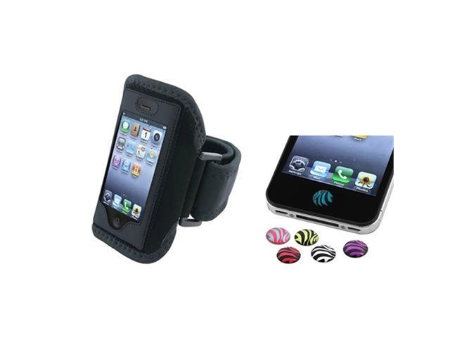 Black Armband Sportband Case Cover+Home Button Sticker Zebra compatible with iPhone® 4 4S