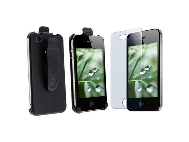 Blk Holster Belt Clip Case+2 Guard compatible with iPhone® 4 4S 4G 4GS