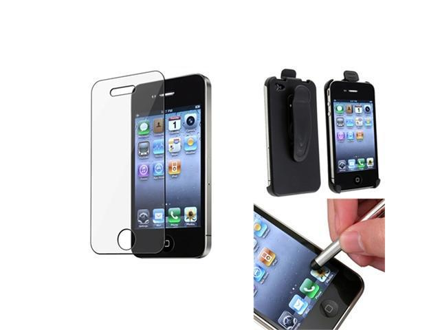 Swivel Holster Clip Hard Case Cover +LCD Guard+Pen compatible with iPhone® 4 4G 4S