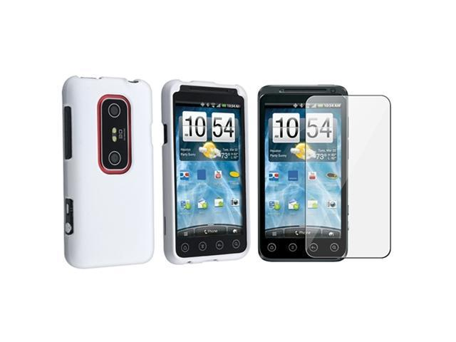 Hard Cover Case+Screen Protector compatible with HTC EVO 3D White
