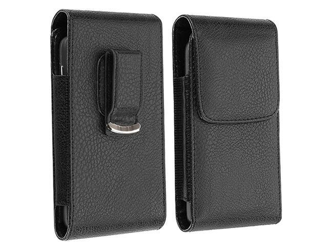 Black Leather Case with Reusable Screen Protector compatible with Samsung© Galaxy S III i9300