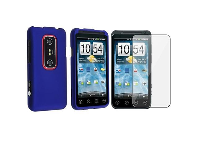 Blue Hard Rubber Case+Screen Protector compatible with HTC EVO 3D