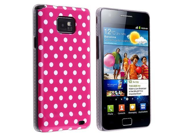 Hot Pink/ White Dot Snap-on IMD Case with Anti-Glare LCD Cover compatible with SAM Galaxy S II i9100