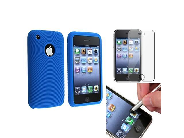 Patterned Blue Silicone Soft Gel Case Cover+SPT+Stylus compatible with iPhone® 3 G 3GS