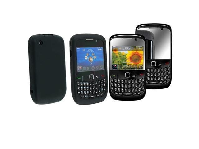 Black Gel Silicone Skin Case Cover+Mirror LCD Protector compatible with Blackberry 8530 8520