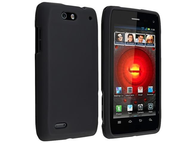 Black Hard Rubber Skin Case Cover+Car Charger+SP compatible with Motorola Droid 4 XT894