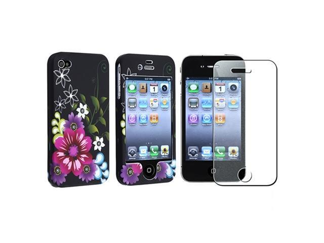 Insten Purple on Black Flower Cell Phone - Case & Covers