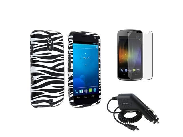 Black White Zebra Hard Phone Case+Car Charger+LCD compatible with Samsung© Galaxy Nexus i515