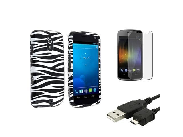 Black White Zebra Hard Phone Case+LCD+USB Cable compatible with Samsung© Galaxy Nexus i515