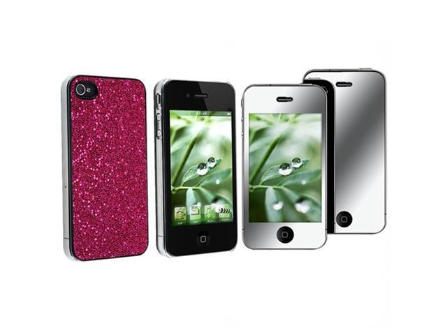 Hot Pink Bling Hard CASE Cover+MIRROR Screen FILM Guard compatible with Sprint iPhone® 4 4S G