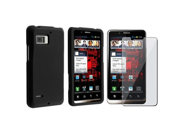 Black Snap-on Rubber Coated Case+Film Protector compatible with Motorola Droid Bionic XT875