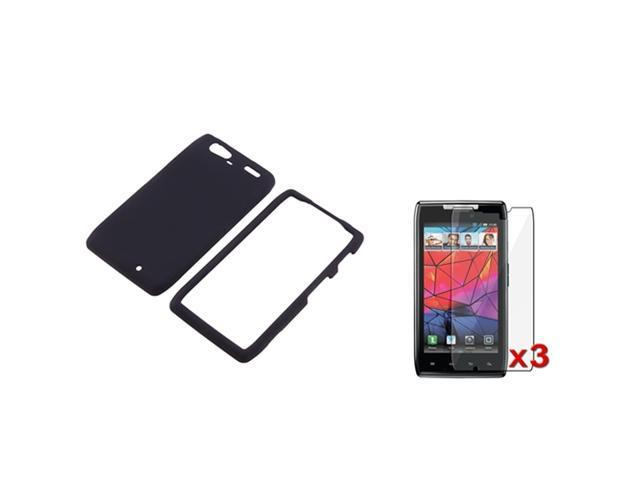 Black Rubber Hard Case Cover+3 LCD Protector compatible with Motorola Droid RAZR Maxx XT916