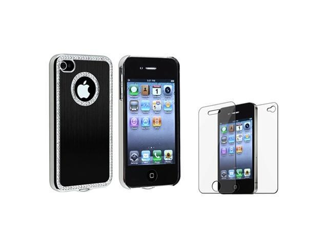 Black Luxury Bling Diamond Aluminium Hard Cover Case+Protector compatible with iPhone® 4 G 4S