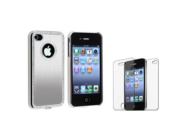 Silver Luxury Bling Diamond Aluminium Hard Cover Case+Protector compatible with iPhone® 4 4S
