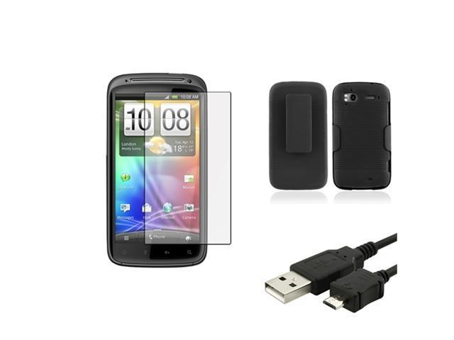 Black Holster w/Stand Case+USB Cable+Guard compatible with T-Mobile HTC Sensation 4G Z710e