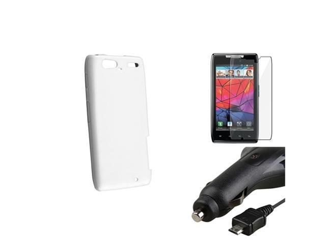 White TPU Phone Case+LCD Film+Retract Car Charger compatible with Motorola Droid RAZR Maxx