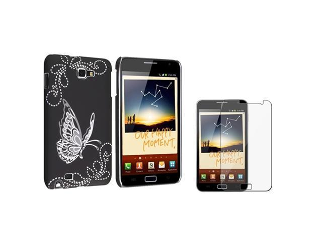 compatible with Samsung© Galaxy Note N7000 Black Butterfly Hard Rubber Back Case Cover+Film