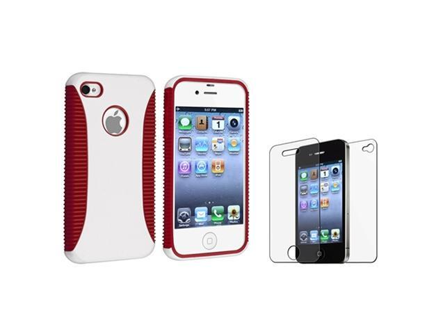 Red Rubber White Hard Case+Anti Glare 2-LCD Guard Film compatible with iPhone® 4 4G Gen 4S