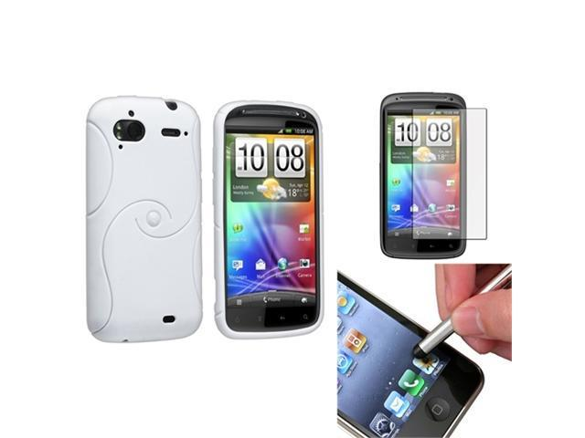 White S-Line TPU Case Cover+LCD Screen Protector+Stylus compatible with HTC Sensation 4G G14