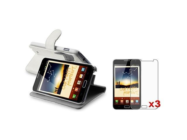 White Leather Case Belt Clip+3x Anti-Glare Guard compatible with Samsung© Galaxy Note N7000