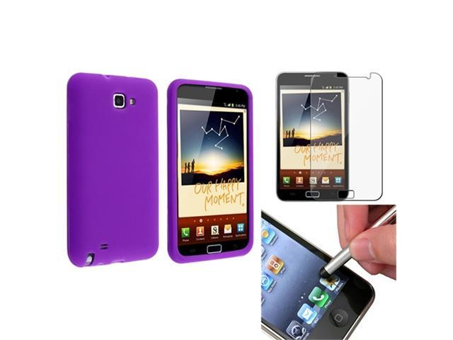 Purple Silicone Skin Gel Case Cover+LCD+Stylus compatible with Samsung© Galaxy Note N7000