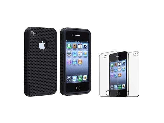 Hybrid Mesh Black Hard/Silicone Case Cover+Anti-Glare Guard compatible with iPhone 4 G 4S
