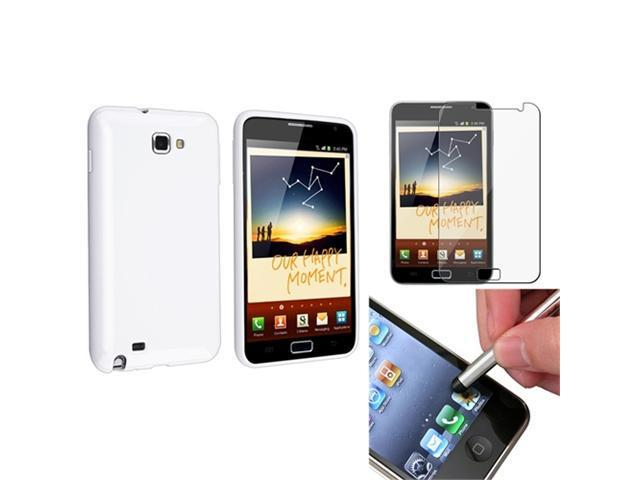 White TPU Case Cover+LCD Screen Protector+Stylus compatible with Samsung© Galaxy Note N7000