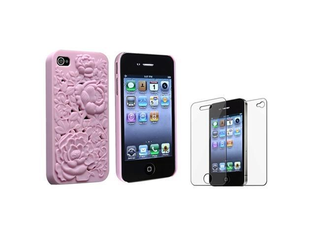 3D Sculpture Rose Pink Hard Case Cover+Front Back Protector compatible with iPhone 4 4S