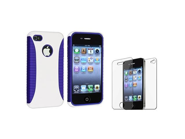 Hybrid Blue TPU/White Hard Case Cover+Front Back LCD Guard compatible with iPhone 4 4S 4GS