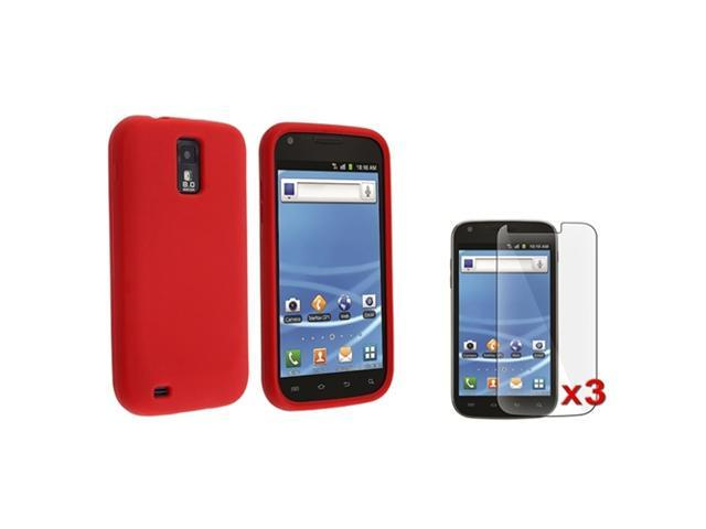 Red Rubber Phone Case Cover+3 LCD Protector compatible with Samsung© Galaxy S2 T-Mobile T989