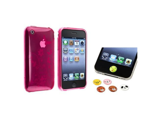 Pink Flower Butterfly TPU Gel Case Cover+Home Button Sticker compatible with iPhone 3 G 3GS