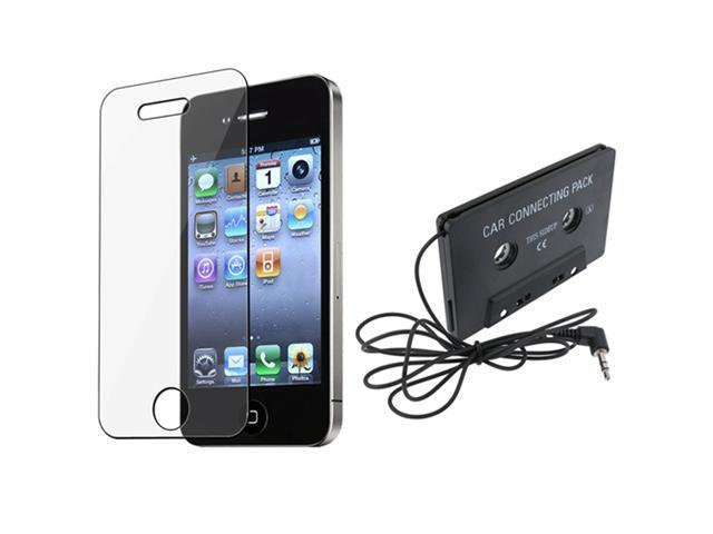Car MP3 Cassette Adapter+Film Guard compatible with Apple iPhone 4 4G s 4s HD 32GB 16GB